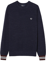 Fred Perry Textured Pique Crew Neck Jumper, Vintage Navy Marl