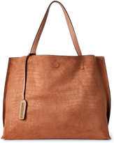 Street Level Sand Croc Embossed Reversible Tote