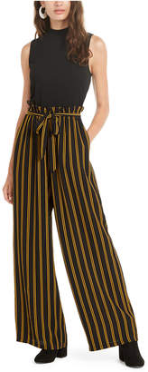 As U Wish Juniors' Solid & Striped Paperbag-Waist Jumpsuit