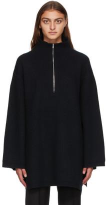 Totême Black Wool Tomar Zip-Up Sweater