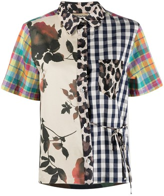 Semi-Couture Multi-Print Short-Sleeve Shirt