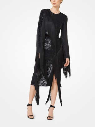 Michael Kors Sequined Fringed Stretch-Cady Dress