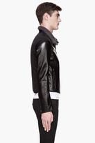 Lanvin Black patent leather shearling jacket