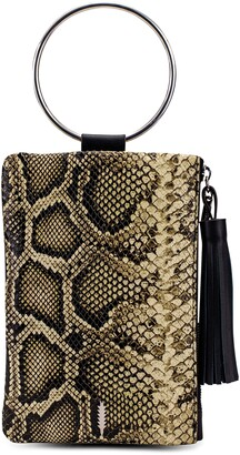 THACKER Nolita Ring Handle Snake Embossed Leather Clutch