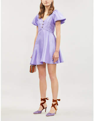 Olivia Rubin Pearl raglan-sleeve flared satin mini dress