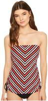 Tommy Hilfiger True Tommy Stripe Side Cinched Bandeau Tankini Top Women's Swimwear