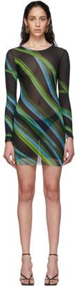 Louisa Ballou SSENSE Exclusive Black Low-Tide Double Layer Mesh Dress