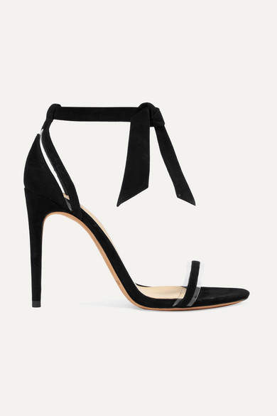 Alexandre Birman Clarita Bow-embellished Suede And Pvc Sandals - Black