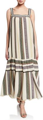 Derek Lam Sleeveless Provincial Striped Midi Dress