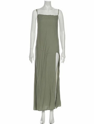 Reformation Square Neckline Long Dress Green