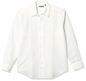 Cubavera Men's Long Sleeve Linen-Blend Shirt with Tuxedo Front