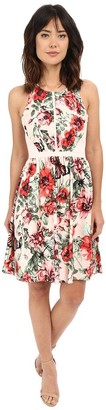 Adrianna Papell Women's Flower Print Sleeveless Cotton Dress Pink/Multi 10