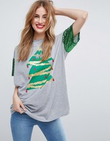 Asos HOLIDAYS T-Shirt With Sequin Sleeve and Holidays Tree Print