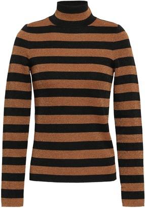 Alice + Olivia Metallic Striped Wool-blend Turtleneck Sweater