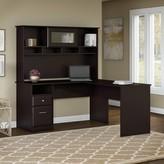 Hillsdale L-Shape Executive desk with Hutch Red Barrel Studio Color: Espresso Oak