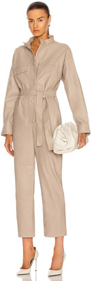 Yves Salomon Lamb Leather Jumpsuit in Sand | FWRD