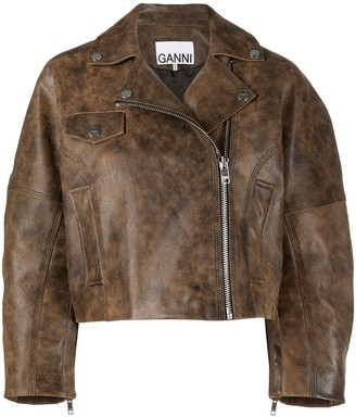 Ganni Washed Leather Short Jacket