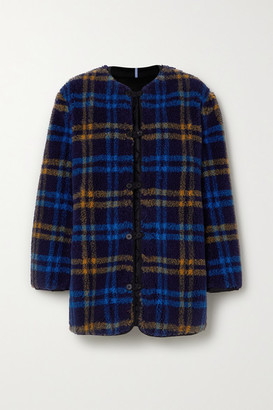 McQ Reversible Apppliqued Checked Fleece And Quilted Shell Jacket - Blue