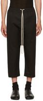 Rick Owens Black Cropped Drawstring Trousers