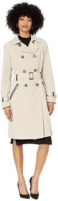 Sam Edelman Microfiber Trench with PU Detail (Pebble) Women's Clothing