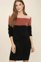 MinkPink Mink Pink Snuggle Black Color Block Sweater Dress