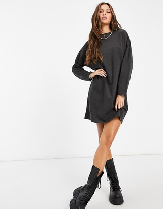 Brave Soul long sleeve t-shirt dress in charcoal