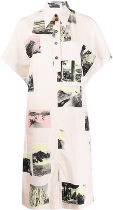 Cédric Charlier Postcard Print Shirt Dress