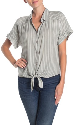 Socialite Tie Front Cropped Camp Shirt