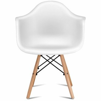 Chyna Mid Century Modern Arm Chair in White Wrought Studio