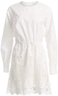 See by Chloe Lace Eyelet Puff-Sleeve Drawstring A-Line Poplin Dress