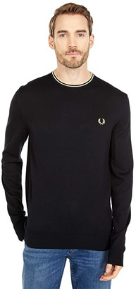 Fred Perry Classic Crew Neck Jumper (Black/Champagne) Men's Clothing