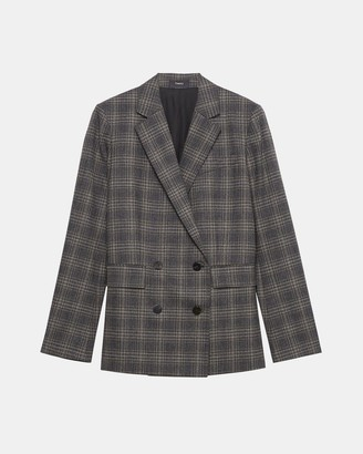 Theory Piazza Jacket in Plaid Wool