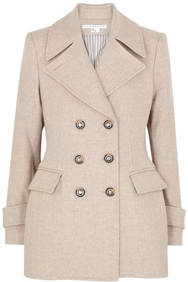 Veronica Beard Regina cream double-breasted wool-blend coat