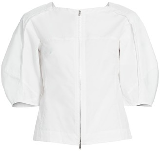 3.1 Phillip Lim Puff-Sleeve Zip-Front Blouse