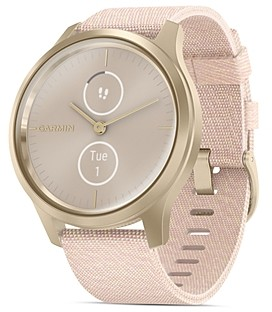 Garmin Vivomove Style Blush Pink Nylon Strap Touchscreen Hybrid Smartwatch, 42mm