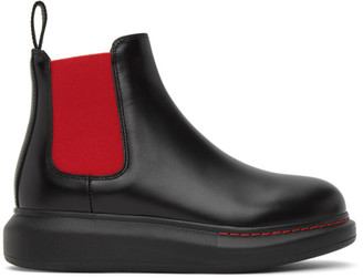 Alexander McQueen Black and Red Contrast Sole Hybrid Chelsea Boots