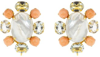 Bounkit Jewelry Mother Of Pearl Cluster Clip-On Earrings