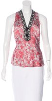 Miguelina Silk Lace-Accented Top