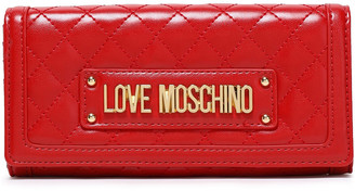 Love Moschino Logo-embellished Quilted Faux Leather Continental Wallet