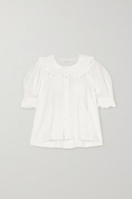 DÔEN Rune Scalloped Embroidered Cotton-poplin Blouse - White