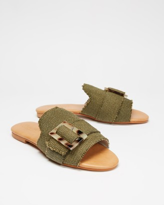 Walnut Melbourne Women's Green Flat Sandals - Meadow Slides - Size 37 at The Iconic