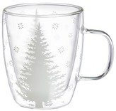 Evergreen White Tree Cafe Cup 12oz Glass