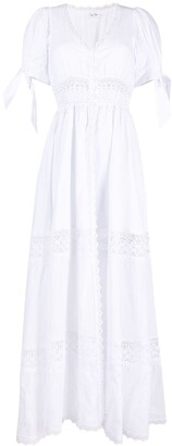 Charo Ruiz Ibiza Lace-Trimmed Poplin Maxi Dress