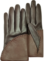 Pineider Women's Two-Tone Brown Short Nappa Gloves w/ Silk Lining