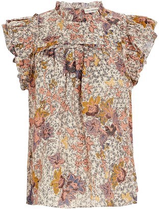 Ulla Johnson Louise Printed Ruffle Sleeveless Top