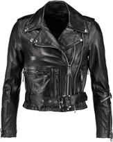 R 13 Shrunken leather biker jacket