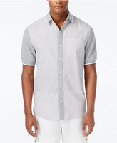 Sean John Men's Pieced Stripe Short-Sleeve Linen Hybrid Shirt