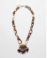 Express tortoiseshell chain stone cluster pendant necklace