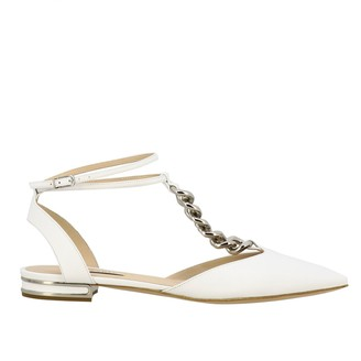 Casadei Ballet Flats Unchain Flat Sandal In Leather With Chain Detail