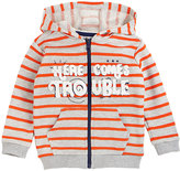 Petit Lem Orange Stripe 'Here Comes Trouble' Zip-Up Hoodie - Toddler & Boys